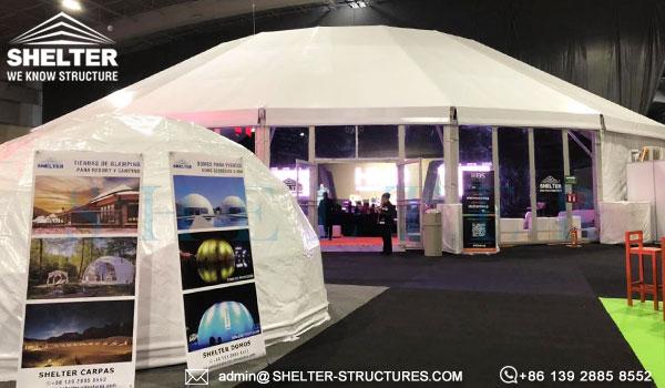carpa poligonal con ábside para cubrir la sala de conferencias principal - proveedor diamantes de carpa para Event industry show eis 2019 (6)
