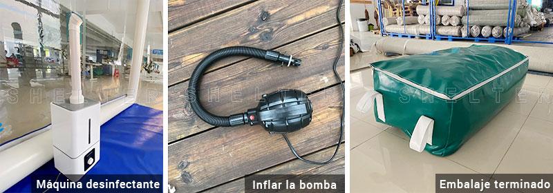 Máquina-desinfectante-Bomba-de-inflado-Acabado-Embalaje-de-túnel-inflable